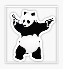 Banksy Panda With Handguns Sticker