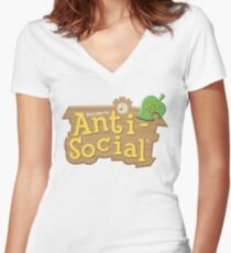 Animal Crossing Anti-Social Women's Fitted V-Neck T-Shirt