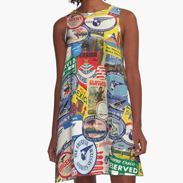Pan Am Travel Sticker Pattern A-Line Dress