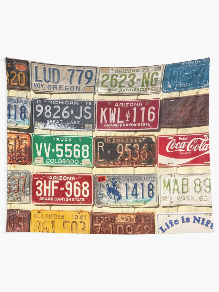 Usa License Plate Collection Tapestry By Travelways Redbubble
