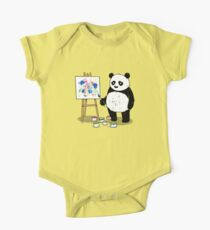 Pandas paint colorful pictures. One Piece - Short Sleeve