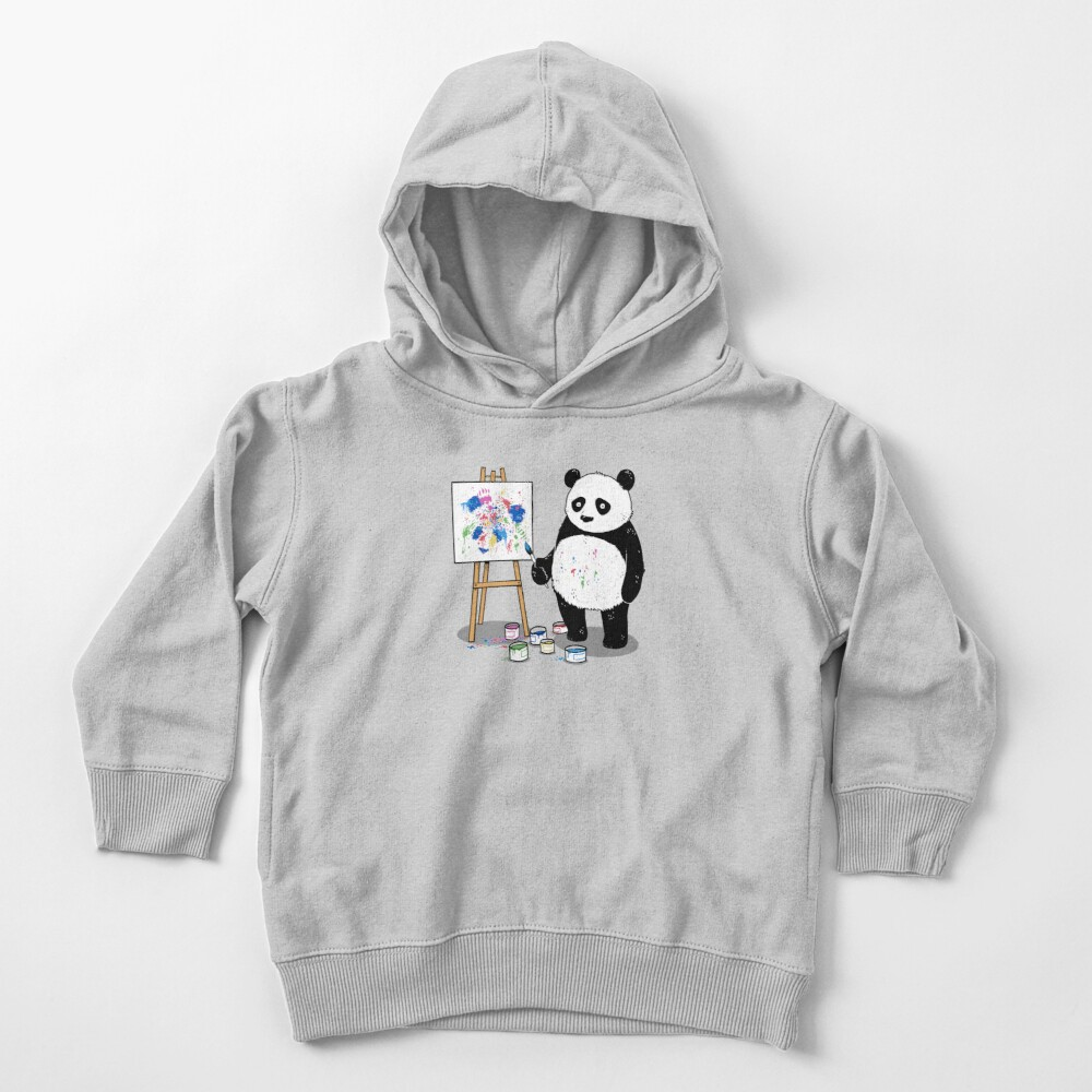 Pandas paint colorful pictures. Toddler Pullover Hoodie