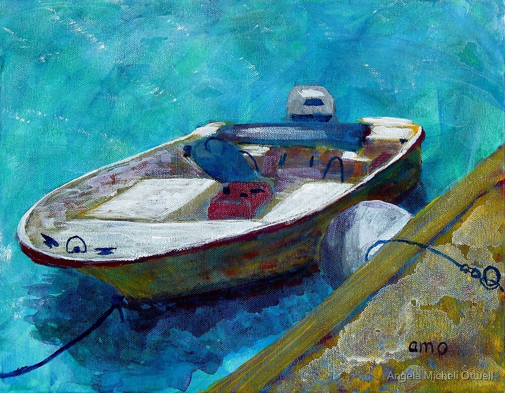Painting of a Small Fishing Boat with Outboard Motor at a Dock by Angela Micheli Otwell