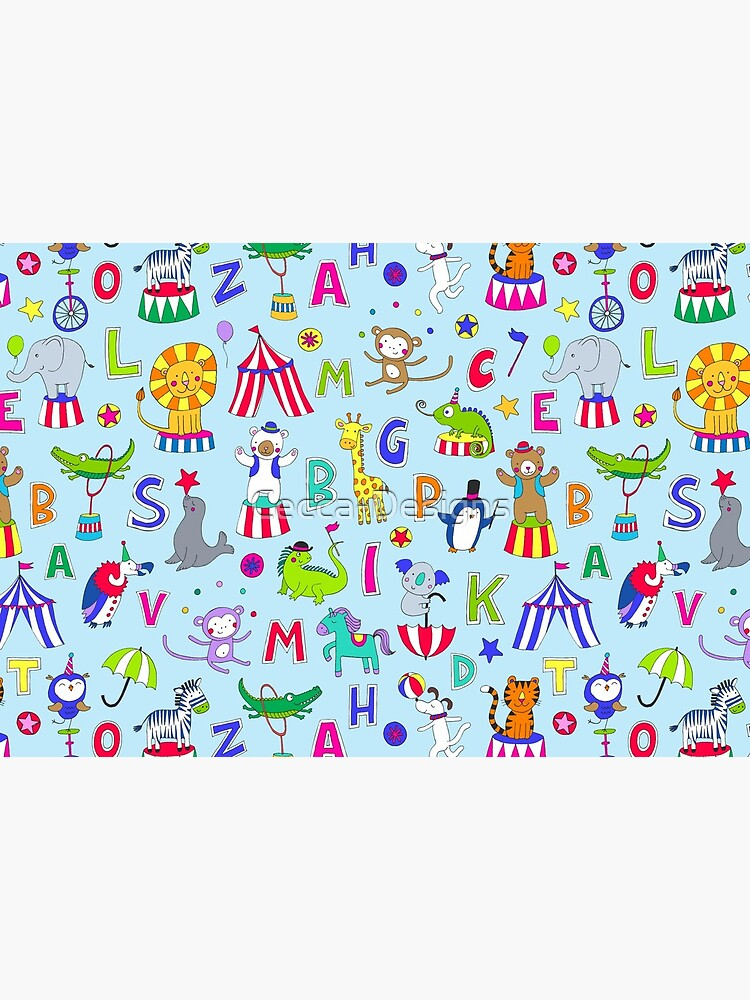 Circus Animal Alphabet - multicoloured on sky blue - Cute animal pattern by Cecca Designs by Cecca-Designs