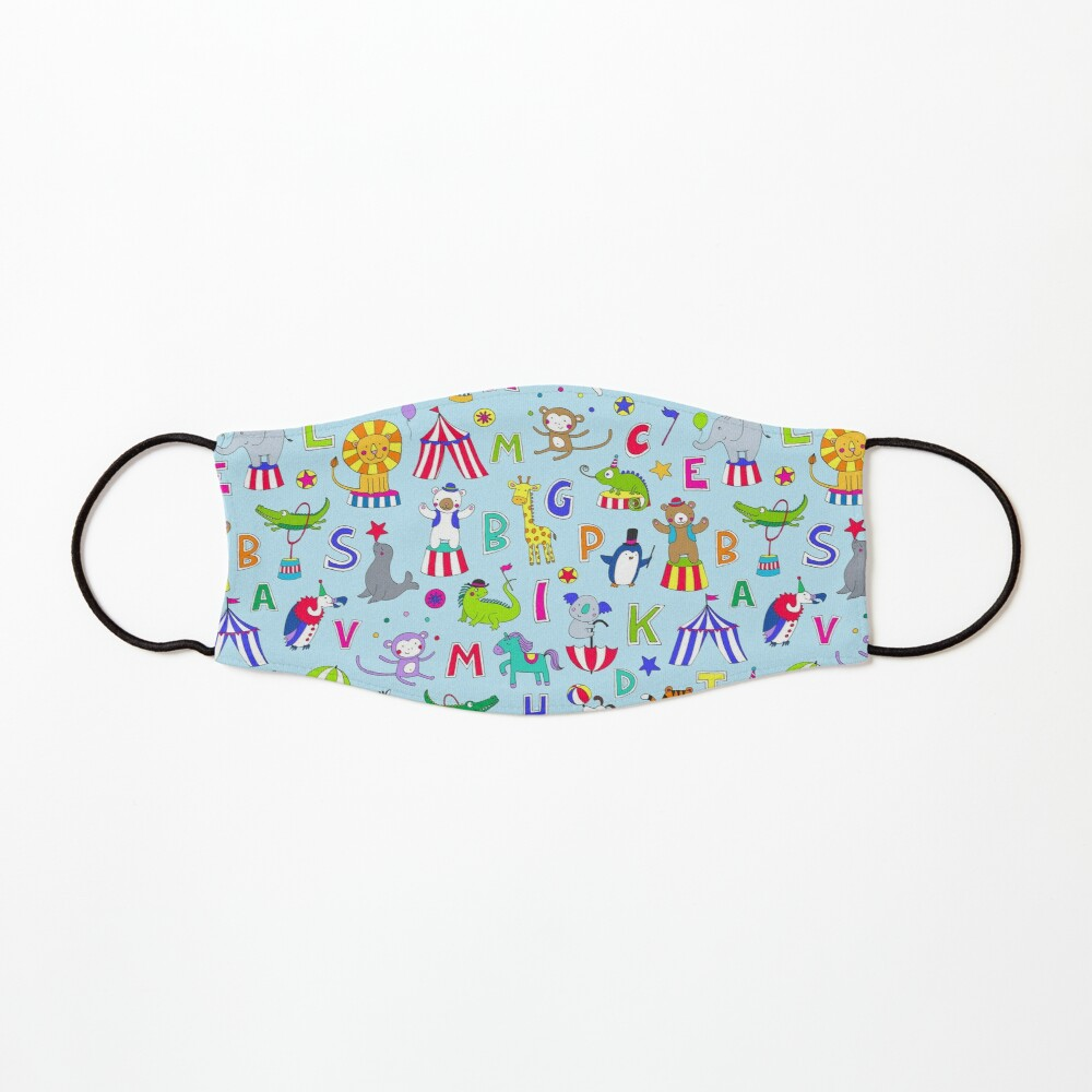 Circus Animal Alphabet - multicoloured on sky blue - Cute animal pattern by Cecca Designs Mask