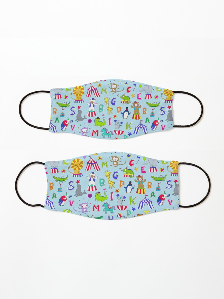 Alternate view of Circus Animal Alphabet - multicoloured on sky blue - Cute animal pattern by Cecca Designs Mask