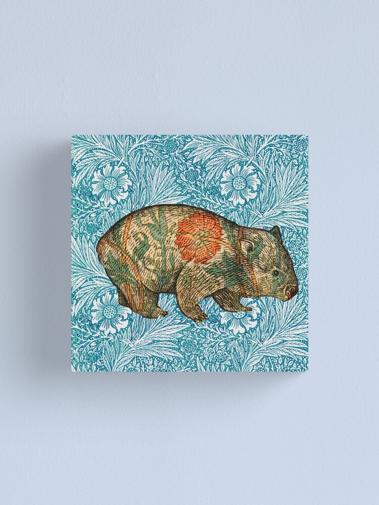 Alternate view of Rossetti's Wombat in Blue Marigold Canvas Print