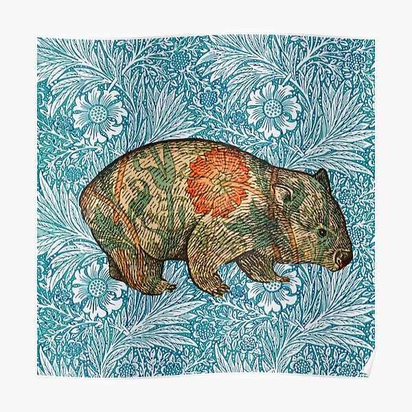 Rossetti's Wombat in Blue Marigold Poster