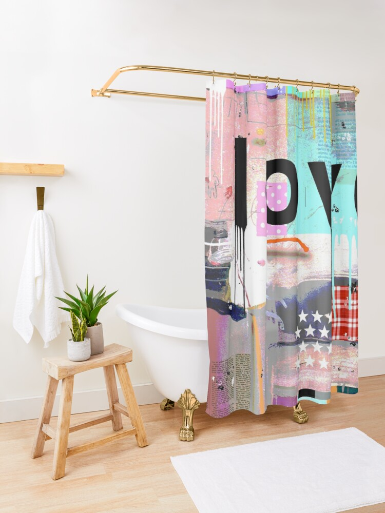 Alternate view of LOVE COLOR Shower Curtain