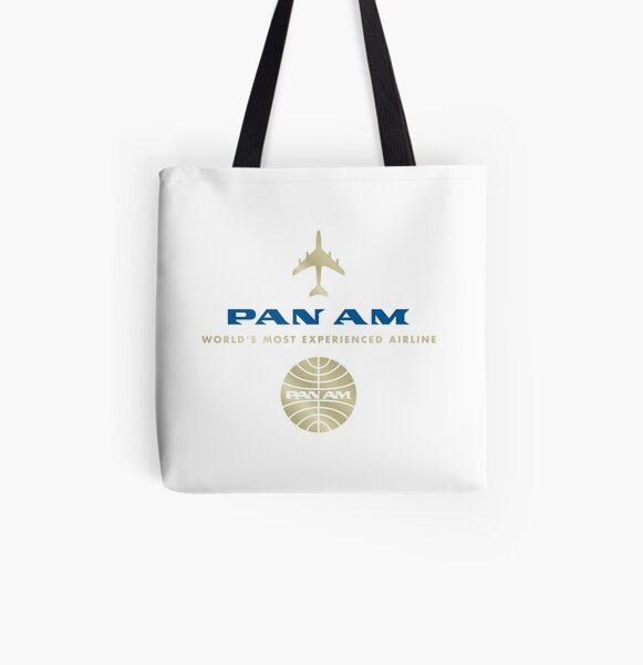 Pan Am Gold and Blue Logo Stack All Over Print Tote Bag