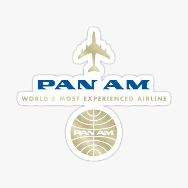 Pan Am Gold and Blue Logo Stack Sticker