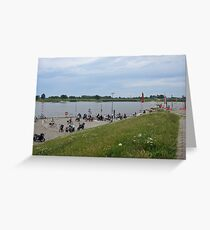 Waiting for the Elbe Ferry, Hamburg - Germany Greeting Card