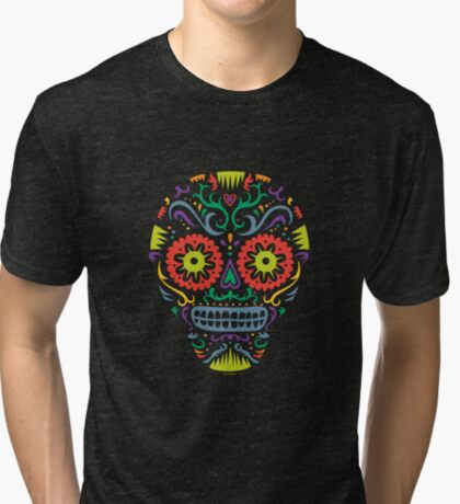 Sugar Skull SF -  on blackSugar skull SF in black white and orange. © Andi Bird  All Rights Reserved. Tri-blend T-Shirt