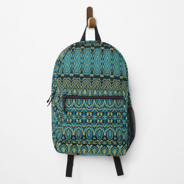 Boho Teal and Gold Decorative Pattern Backpack