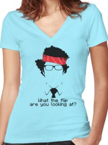 What The Flip Are You Looking At? Women's Fitted V-Neck T-Shirt