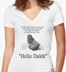 Hello Dalek Women's Fitted V-Neck T-Shirt