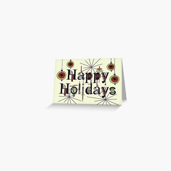Happy Holidays Atomic Art Typography  Greeting Card