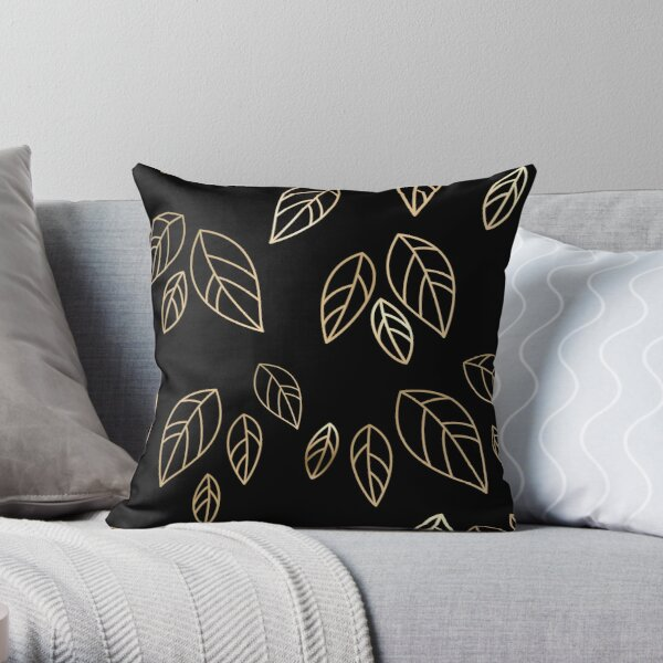 Gold leaves on black background Throw Pillow