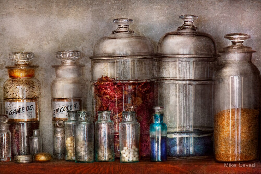 Pharmacy - Mysterious pebbles, powders and liquids by Michael Savad