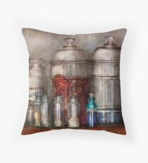 Pharmacy - Mysterious pebbles, powders and liquids Throw Pillow