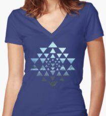 Sri Yantra OceanView Women's Fitted V-Neck T-Shirt