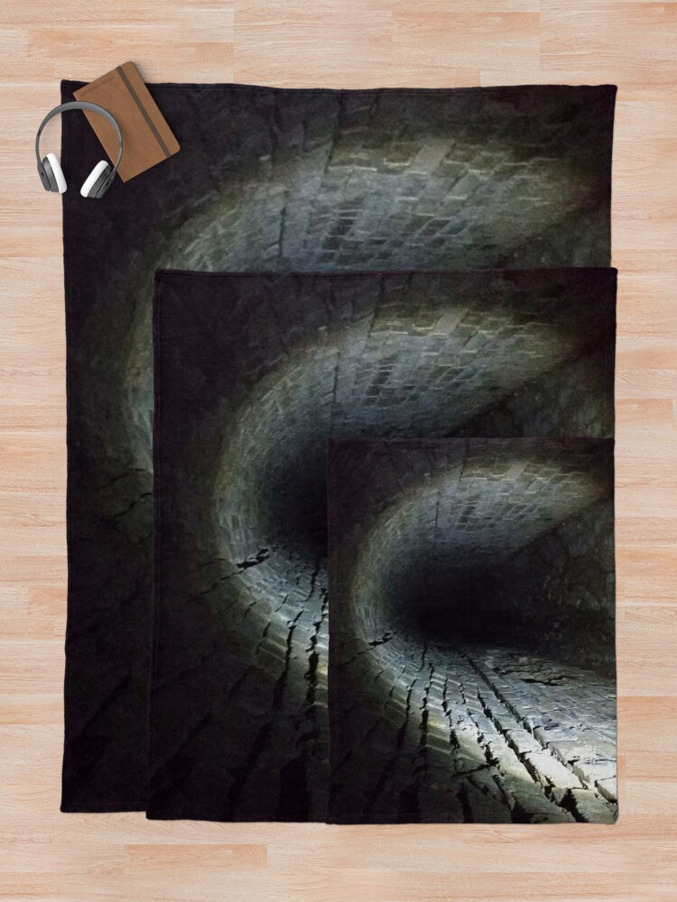 Alternate view of Canal tunnel, Darkness Throw Blanket