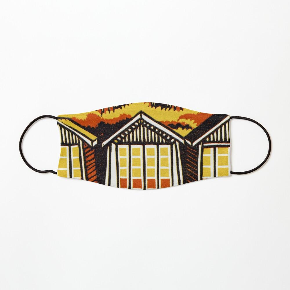 Beach Huts - Summer - Original Linocut by Francesca Whetnall Mask