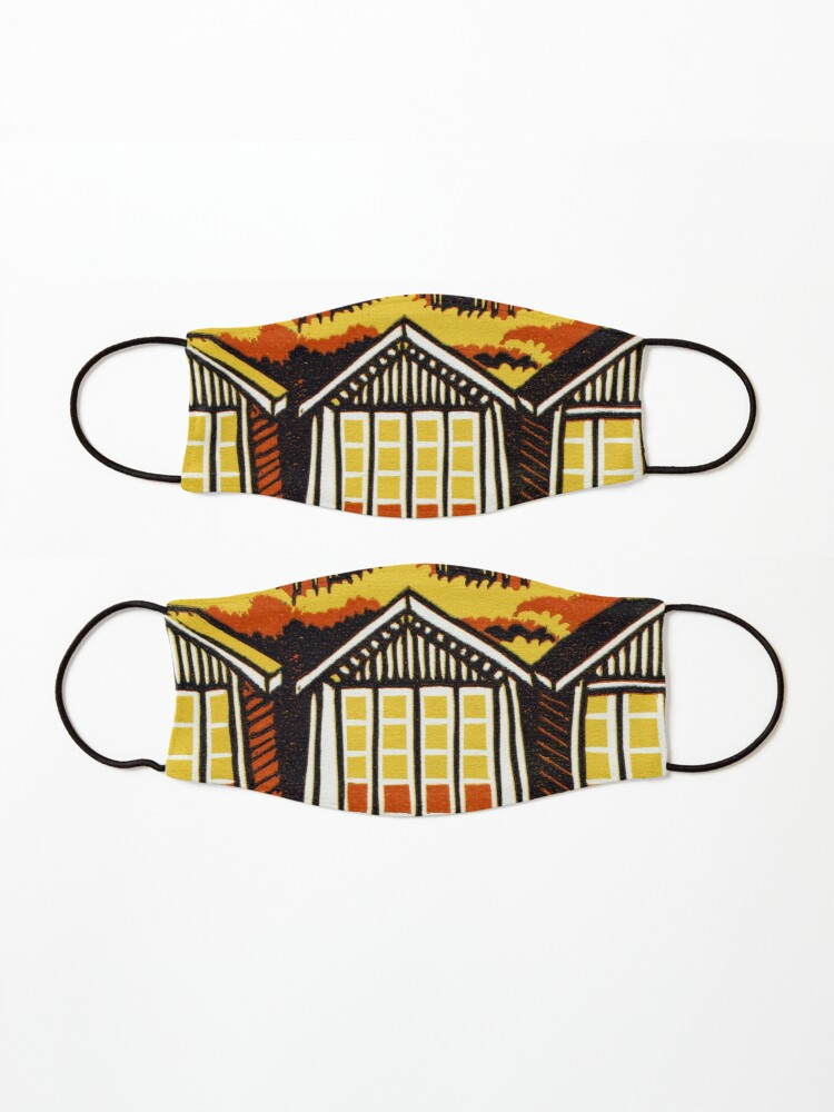 Alternate view of Beach Huts - Summer - Original Linocut by Francesca Whetnall Mask