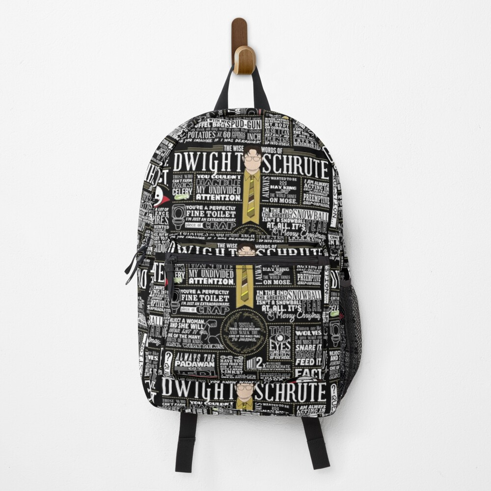 The Wise Words of Dwight Schrute (Dark Tee) Backpack
