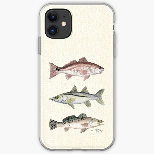 """""""Inshore Slam""""  by Amber Marine ~ watercolor redfish, snook, and trout art, © 2013 iPhone Soft Case"""