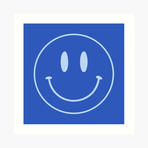 Blue   Happy Face   Smiley    Art Print
