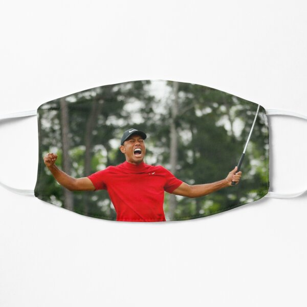 Tiger Woods celebrating his victory at the Masters Mask