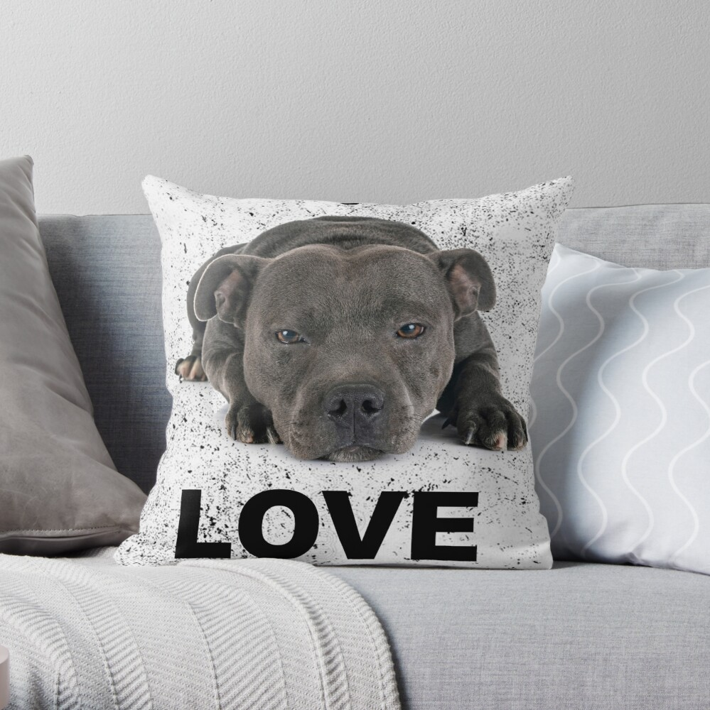 Love is 4 paws & waggy tail Blue Staffordshire Bull Terrier Throw Pillow