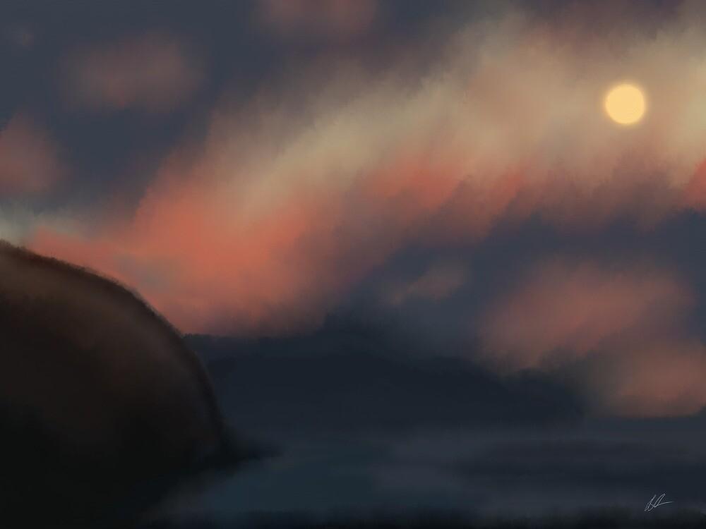Moon over sea by JillySB