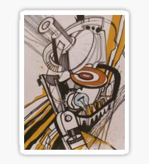 Yellow-black abstraction Sticker