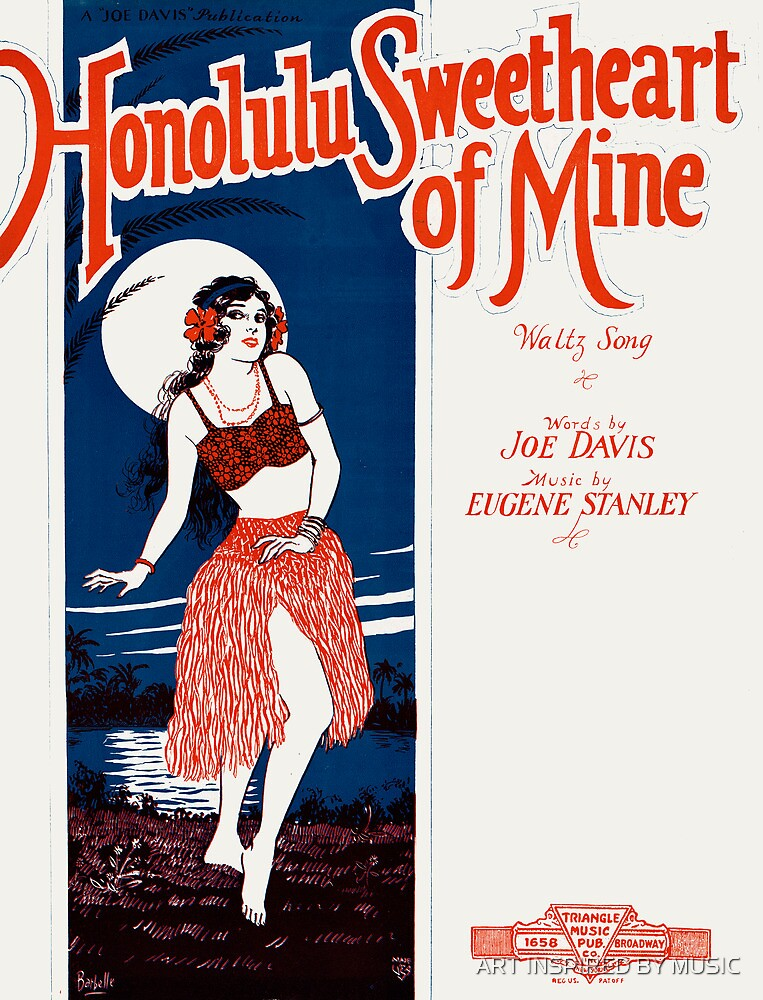 HONOLULU SWEETHEART OF MINE (vintage illustration) by ART INSPIRED BY MUSIC