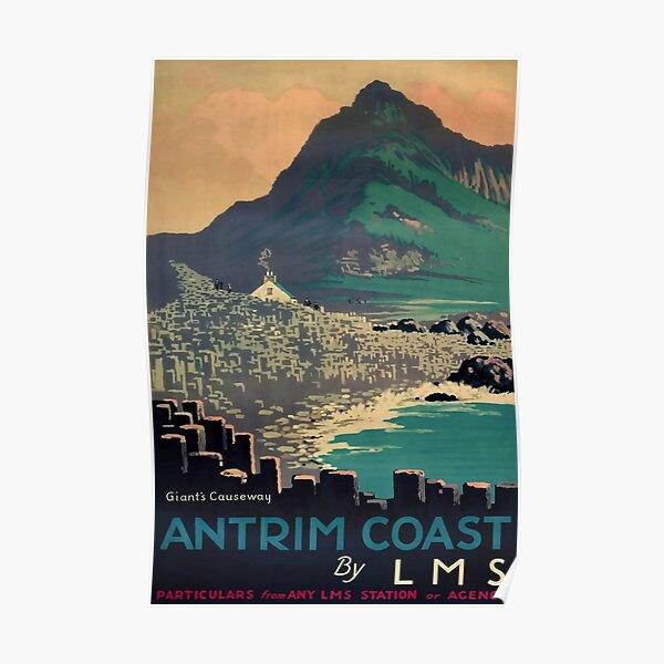 Antrim Coast vintage travel poster Poster