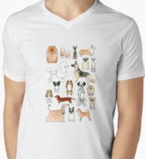Camiseta de cuello en V Perros