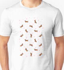 Dachshund Pattern - White Unisex T-Shirt