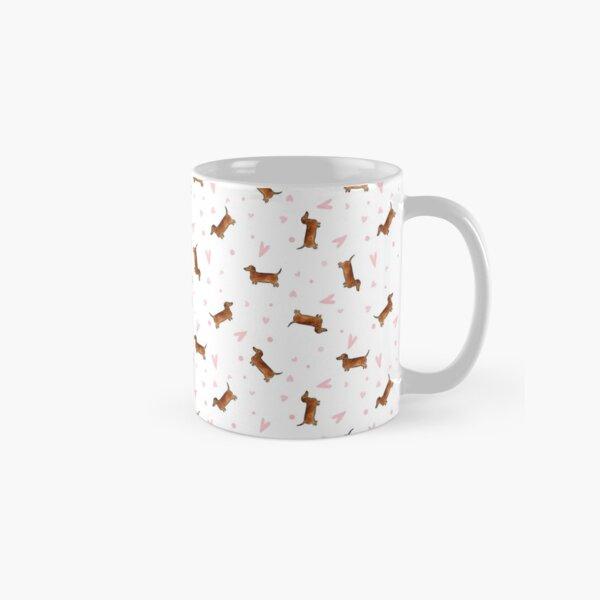 Dachshund Pattern - White Classic Mug
