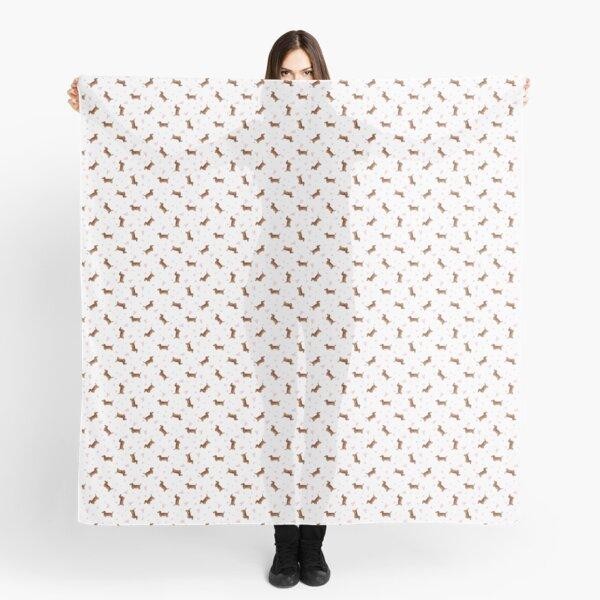 Dachshund Pattern - White Scarf