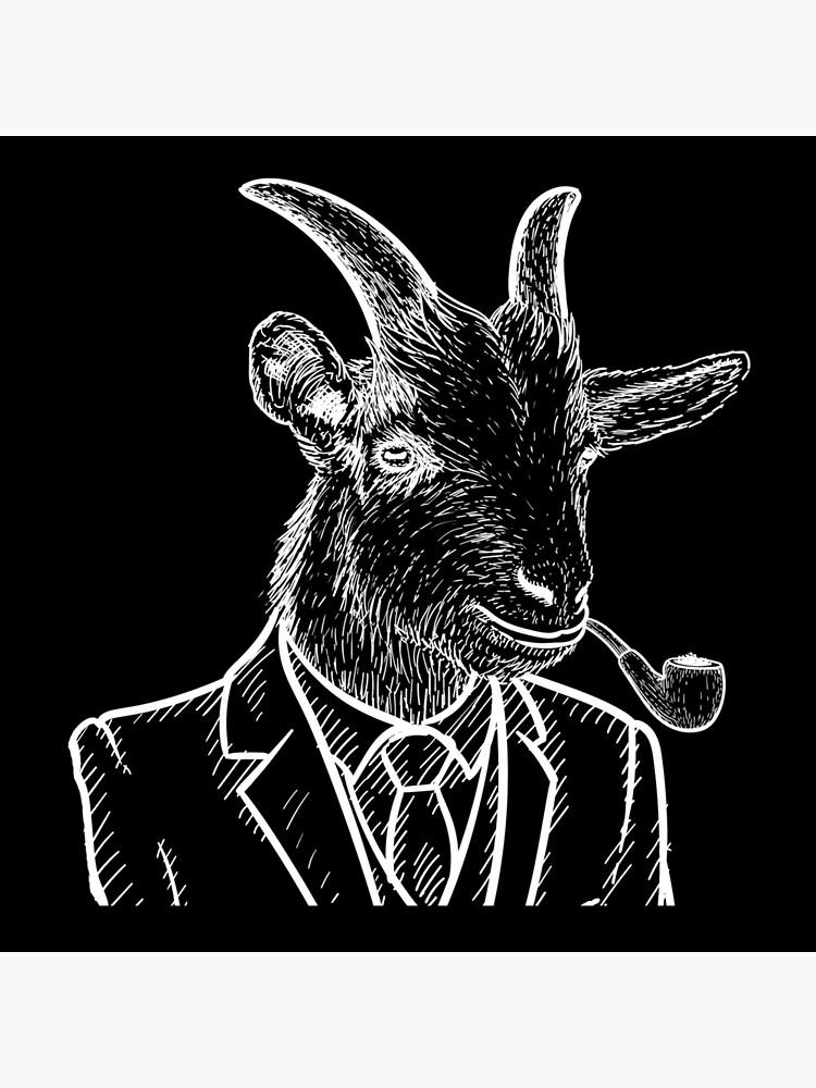 Fraternal Studios - Goat - White on Black by FraternalStudio