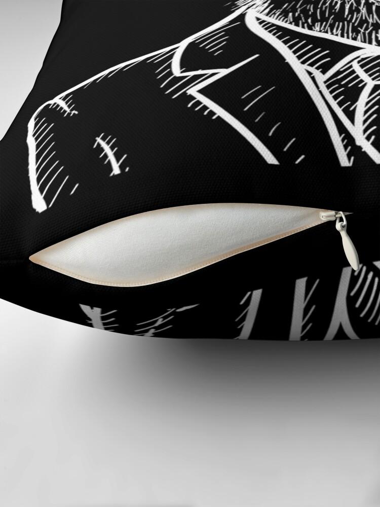 Alternate view of Fraternal Studios - Goat - White on Black Throw Pillow