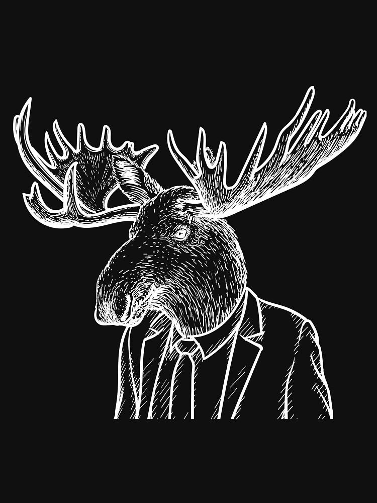 Fraternal Studios - Moose - White on Black by FraternalStudio