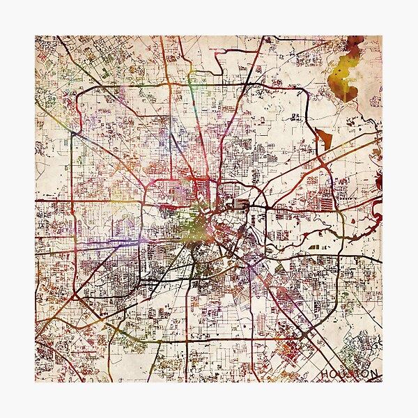 Houston Karte Fotodruck