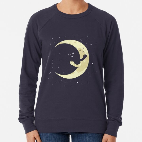 Cute Crescent Moon Hug Lightweight Sweatshirt