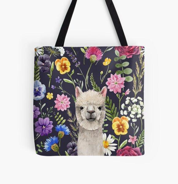 Wildflower Alpaca All Over Print Tote Bag
