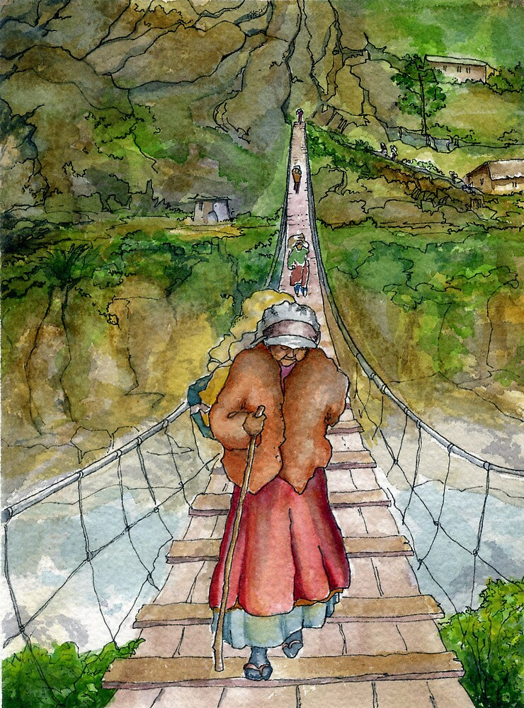 Bridge in Nepal by Barbara Nye