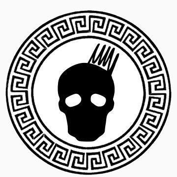 Greek Keys Black Cranium Design by davidmorrison92