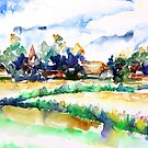 View Of Ludorf Over The Meadows, Mecklenburg- Germany by Barbara Pommerenke